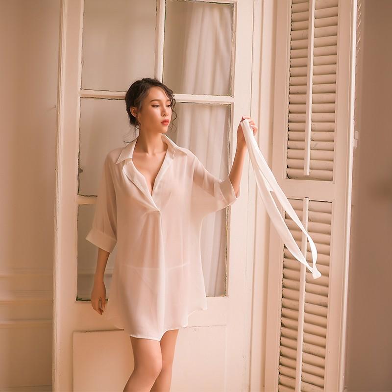 瑰若 长款性感透视衬衫腰带睡袍