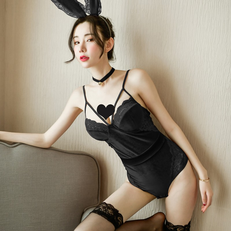 诗魅莎 新年红性感兔女郎开裆暗扣金丝绒连体衣