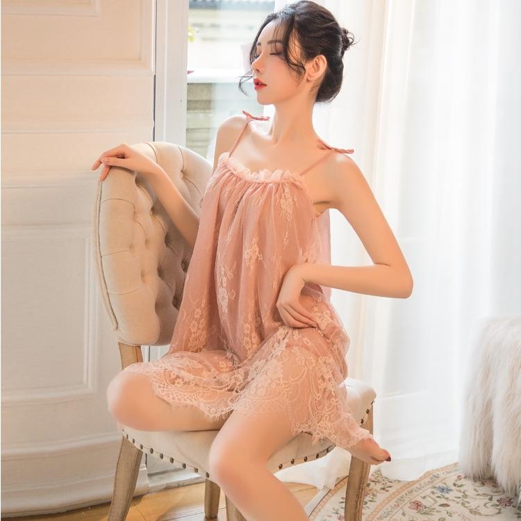 柔情天使 夏季私房少女系带蕾丝吊带睡裙