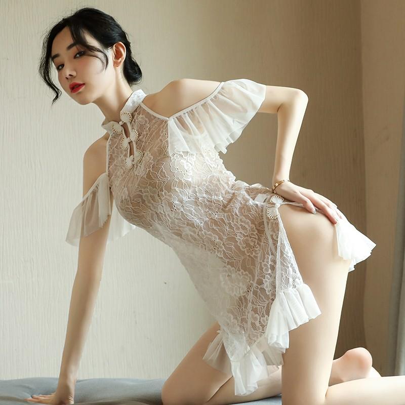 【新品】品贤 仙气睡裙套装透视性感诱惑蕾丝吊带长裙旗袍