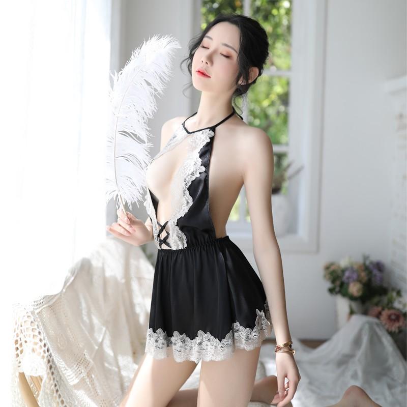 【新品】品贤 可爱少女小胸挂脖睡衣蕾丝透视睡裙