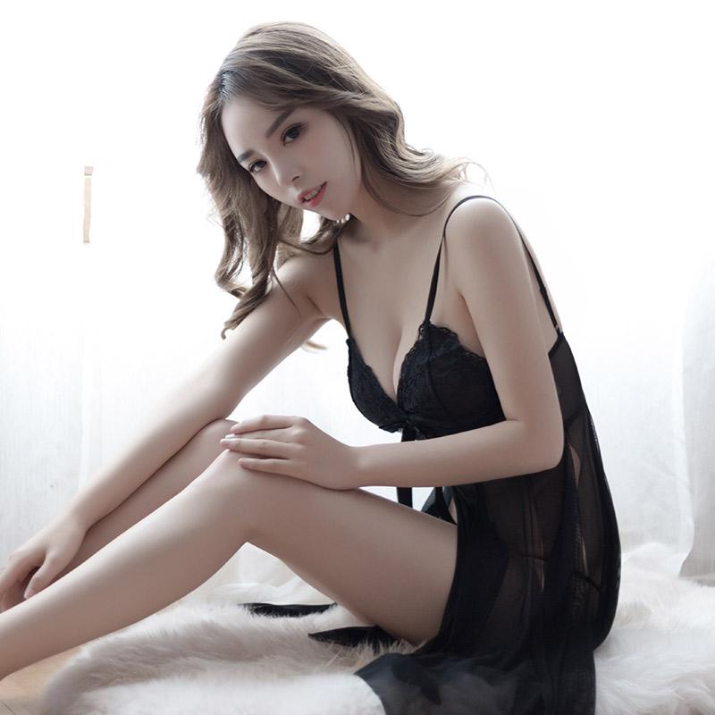 【新品】品贤 网纱透明薄纱吊带开叉蕾丝睡衣