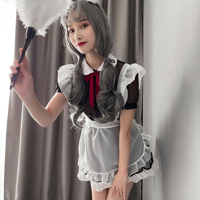【新品】诗魅莎 透视领结蕾丝花边女仆裙
